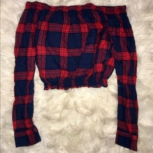 Plaid Off the Shoulder Long Sleeve Cropped Top